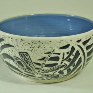 Handmade pottery fern and dragon fly bowl