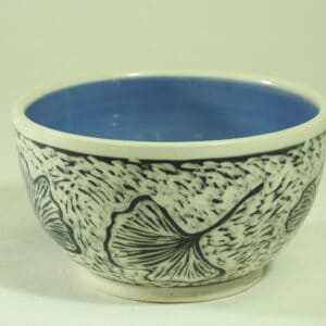 handmade pottery gingko design bowl