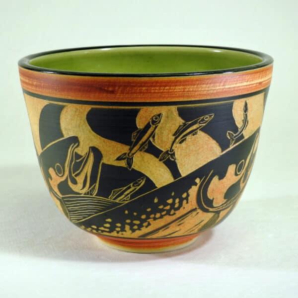 Hand carved salmon design bowl for food serving