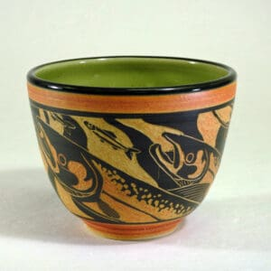 pottery bowl with salmon design for food dishes
