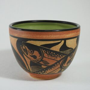 Hand carved pottery bowl for serving food