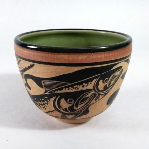 hand carved salmon design bowl for serving food