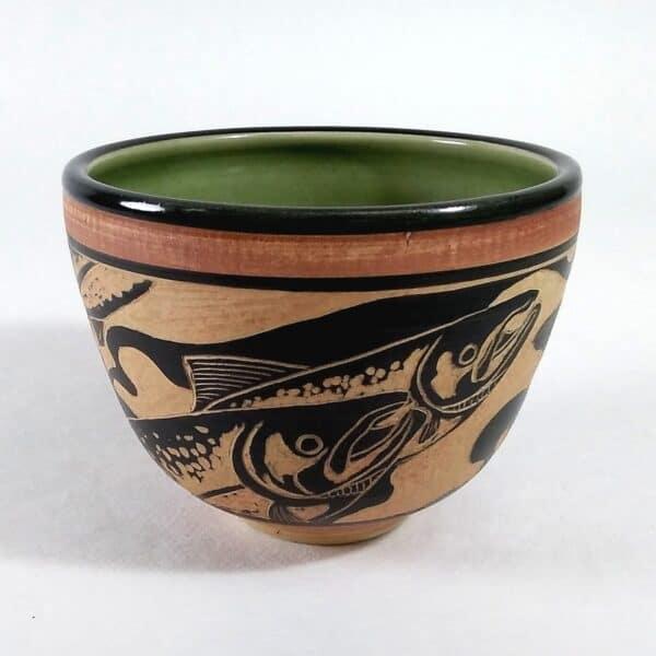 hand carved salmon design bowl for serving food