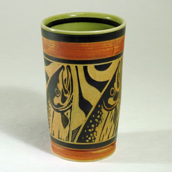 Hand carved pottery cup for hot or cold beverages