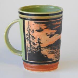 pottery mug for hot beverages