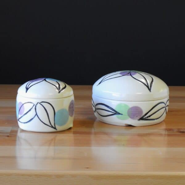 Handmade pottery lidded dish sugar pot or salt jar