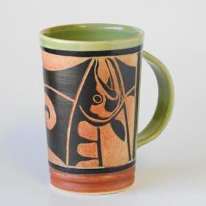 handmade pottery mug for hot beverages