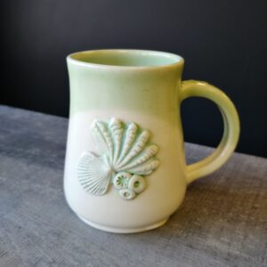 pottery sea shell cup for your favorite hot beverage